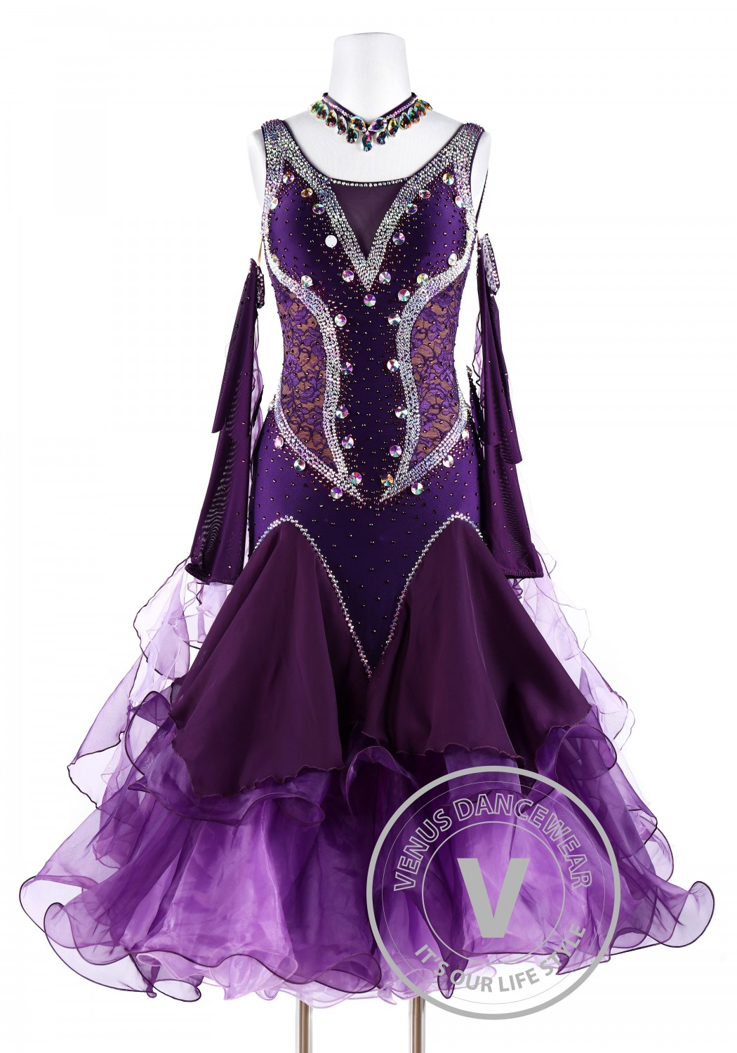 Plum Lace Smooth Waltz Tango Quickstep Ballroom Competition Dance Dress
