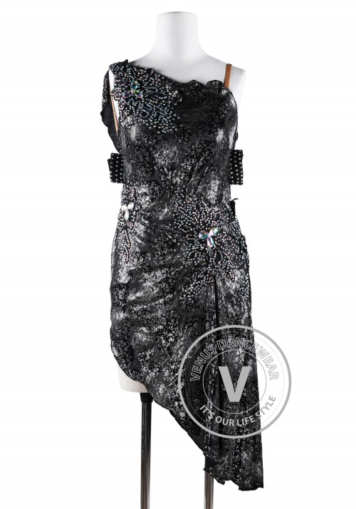 Black Metallic Sequins Embroidery Tail Latin Rhythm Competition Dress