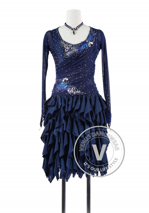 Navy Blue Latin Rhythm Chacha Salsa Competition Dancing Dress