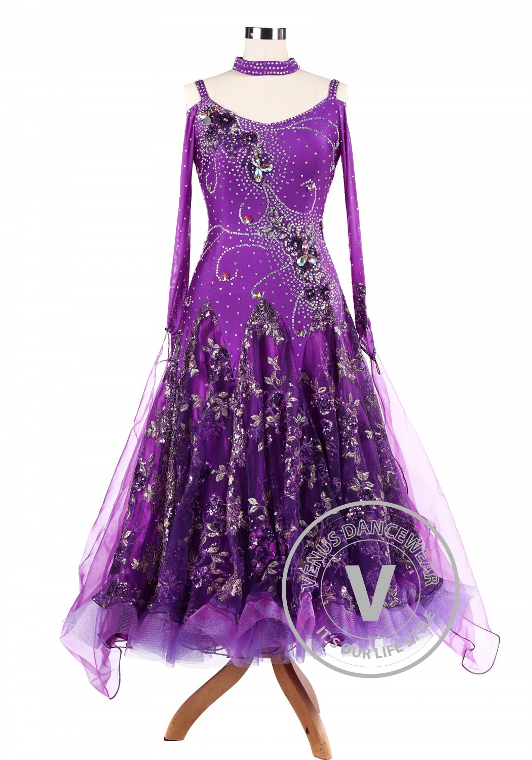 Purple Sequin Embroidered Ballroom Competition Dance Dress