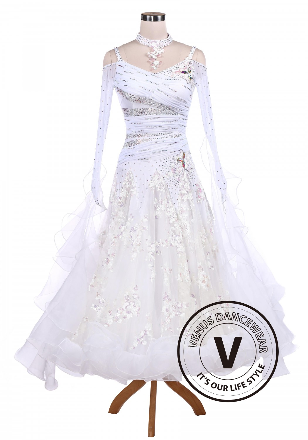 White Sequin Embroidered Ballroom Competition Dance Dress
