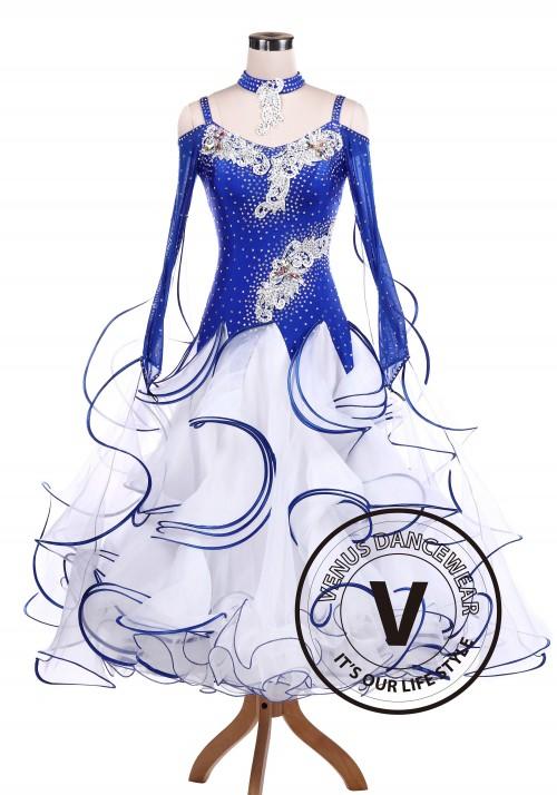 Blue Spray Ballroom Tango Competition Dancing Dress