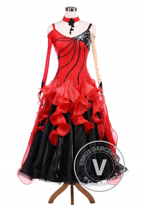 Black Red Ballroom Tango Competition Dance Dress