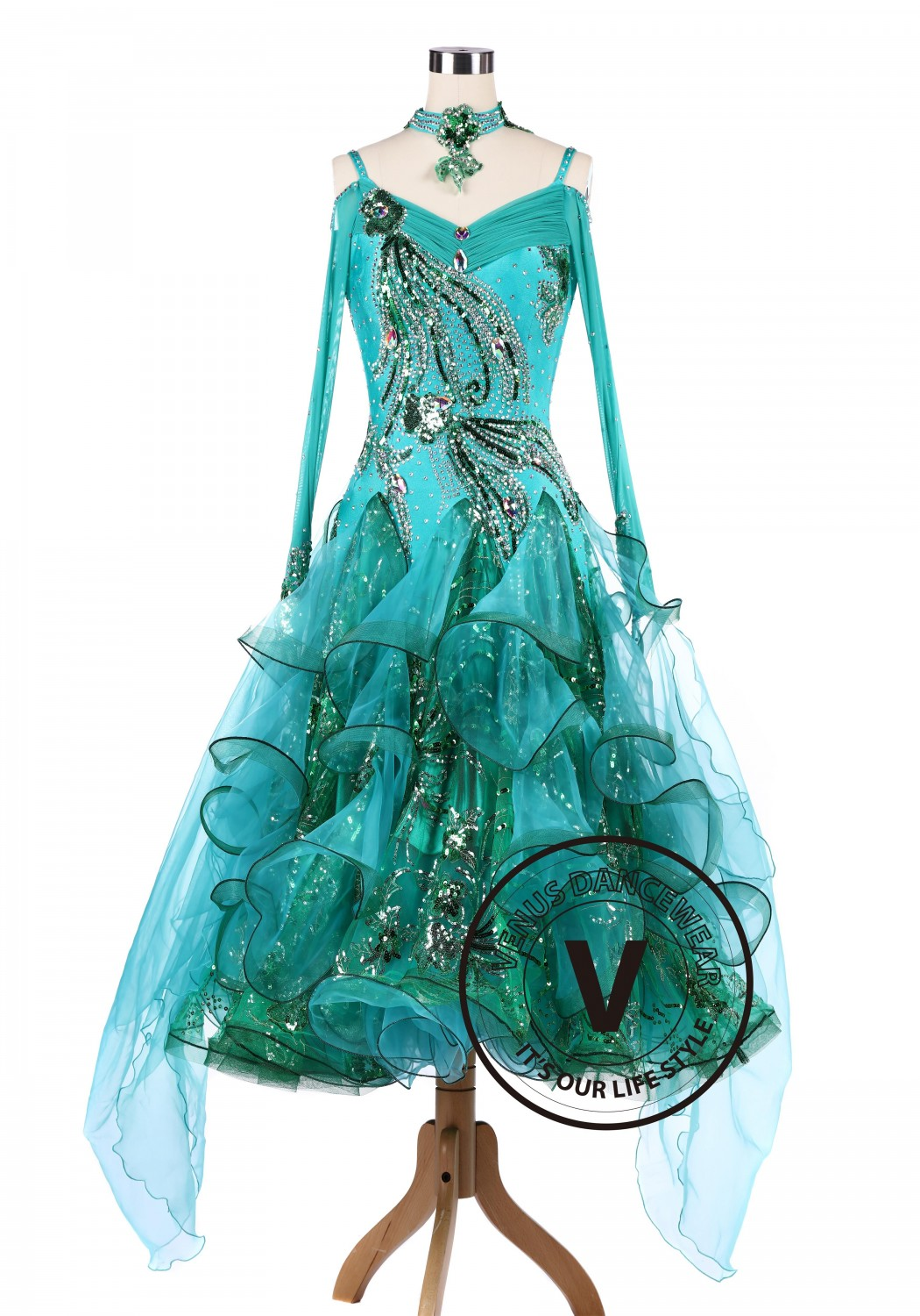 Emerald Ballroom Tango Waltz Competition Dancing Dress
