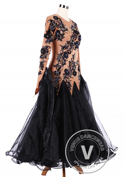 Chocolate Black Flower Ballroom Tango Competition Dance Dress