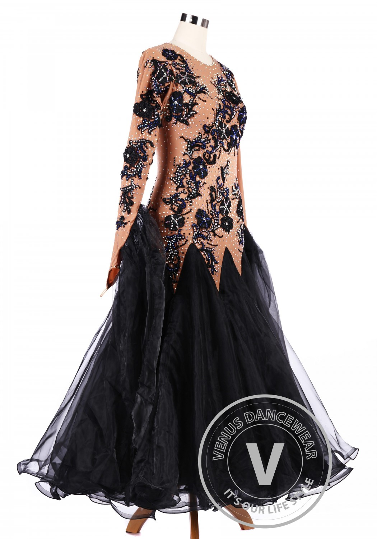 Chocolate Black Flower Ballroom Tango Competition Dance Dress