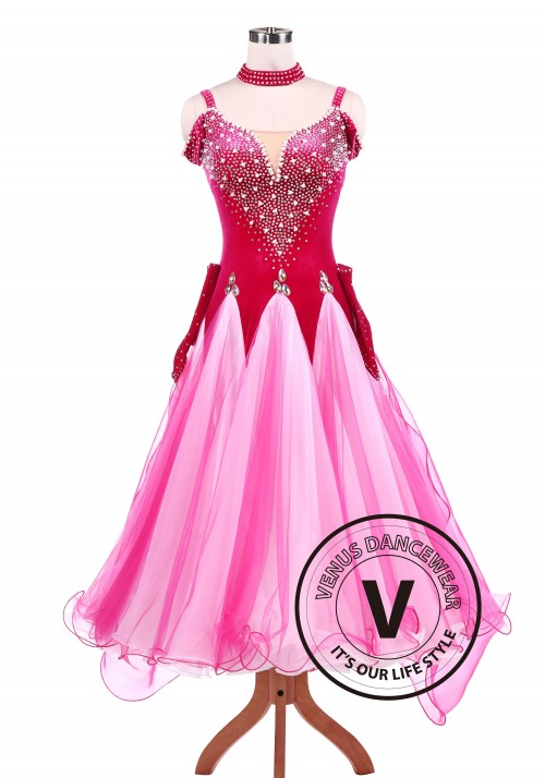 Hot Pink Ballroom Standard Competition Dance Dress