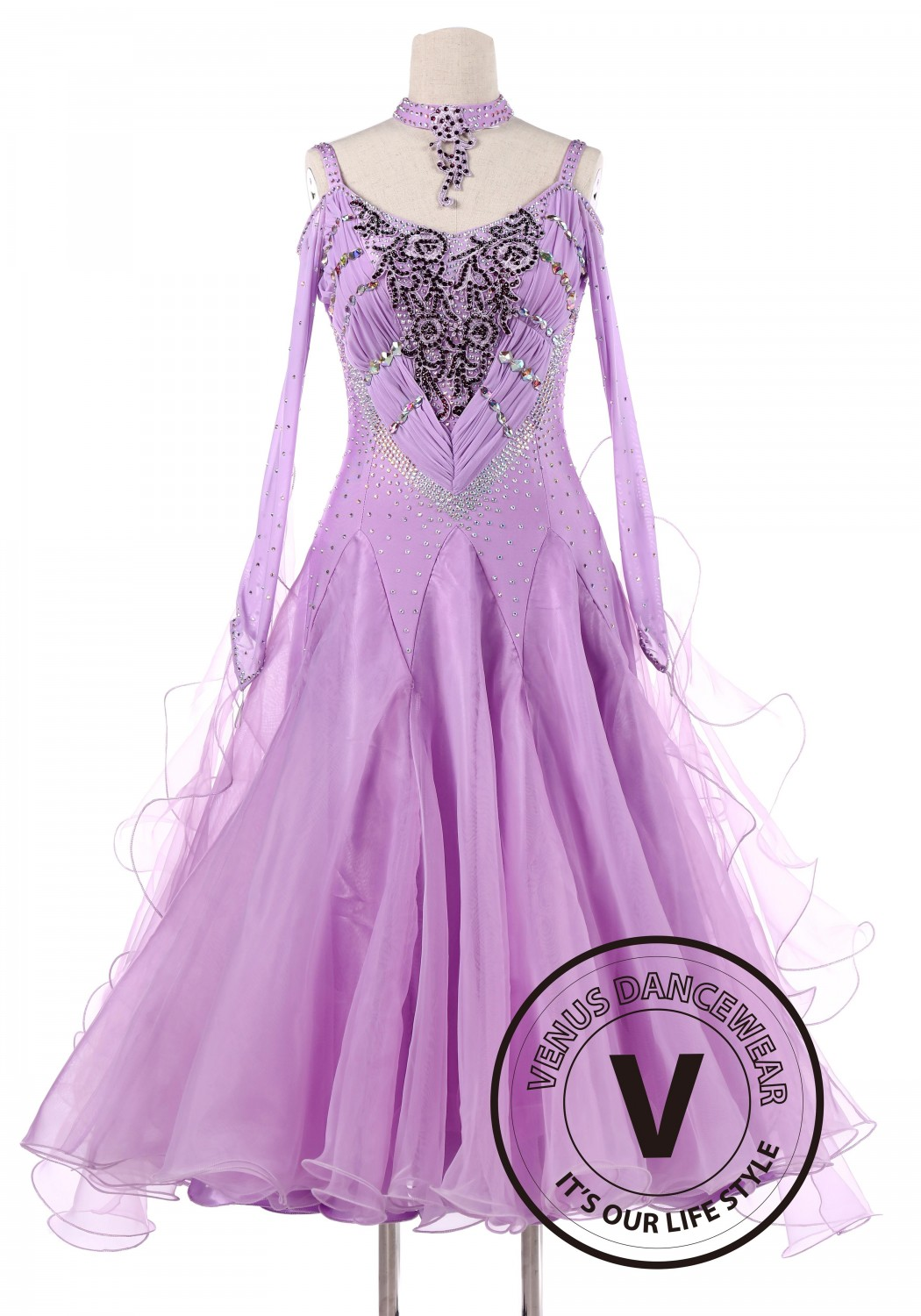 Lavender Luxury Ballroom Waltz Competition Dance Dress