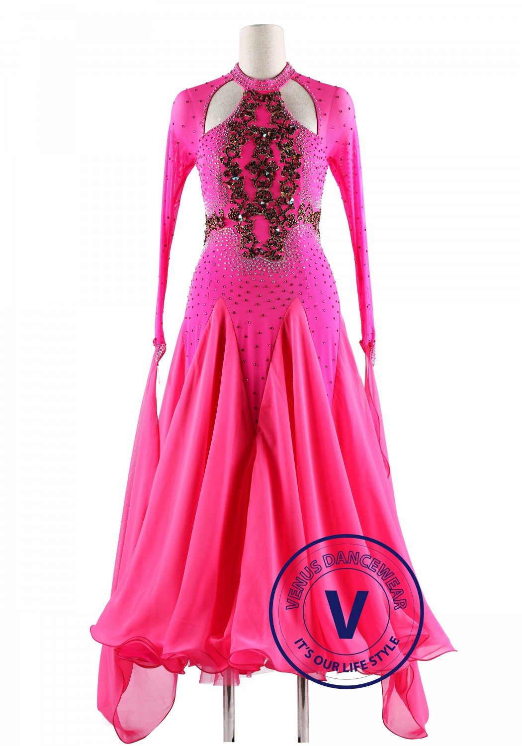 Pink Gorgeous Style Ballroom Waltz Competition Dance Dress