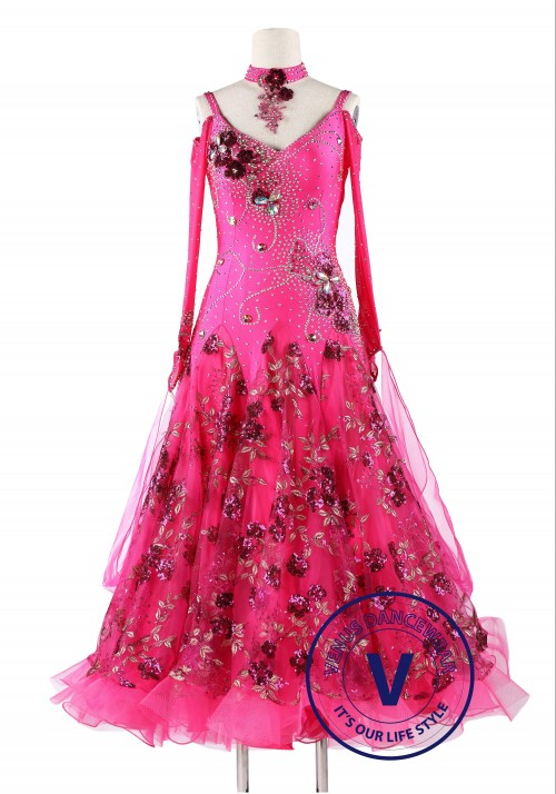 Pink Rose Sequin Ballroom Standard Competition Dance Dress
