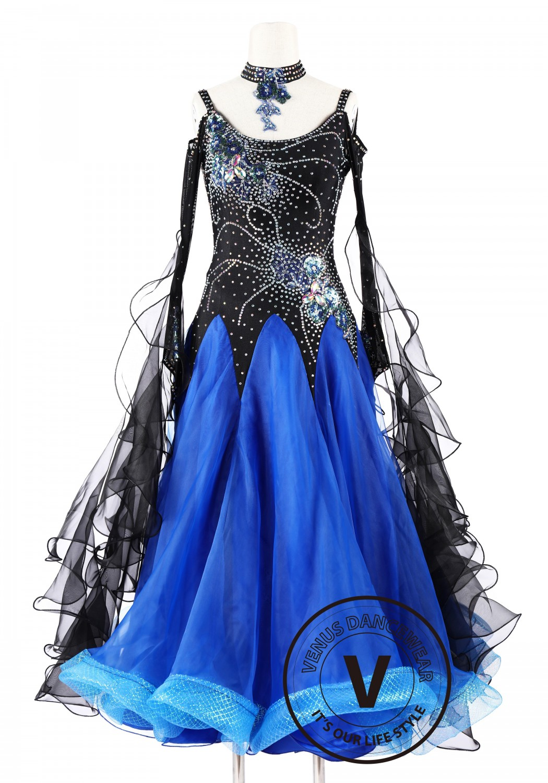 Blue Black Foxtrot Waltz Standard Competition Dance Dress