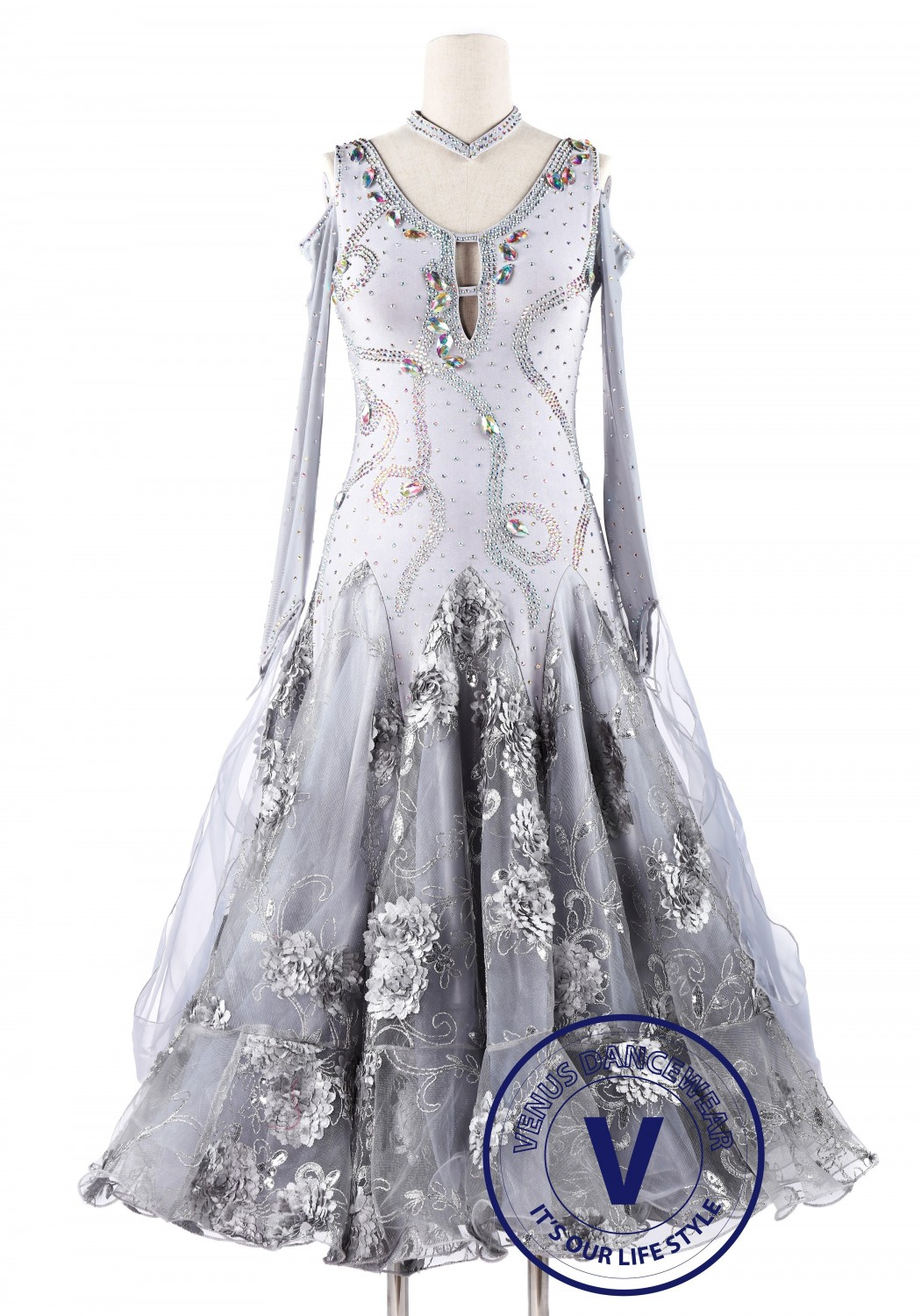 Silver Embroidery Foxtrot Waltz Standard Competition Dance Dress
