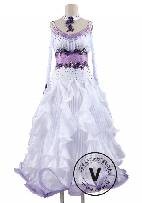 White Accordion Pleated Skirt Competition Dance Dress