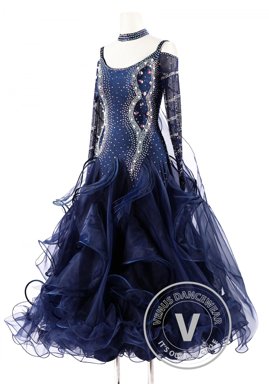 Navy Blue Foxtrot Waltz Standard Competition Dance Dress on Foxtrot Dancers