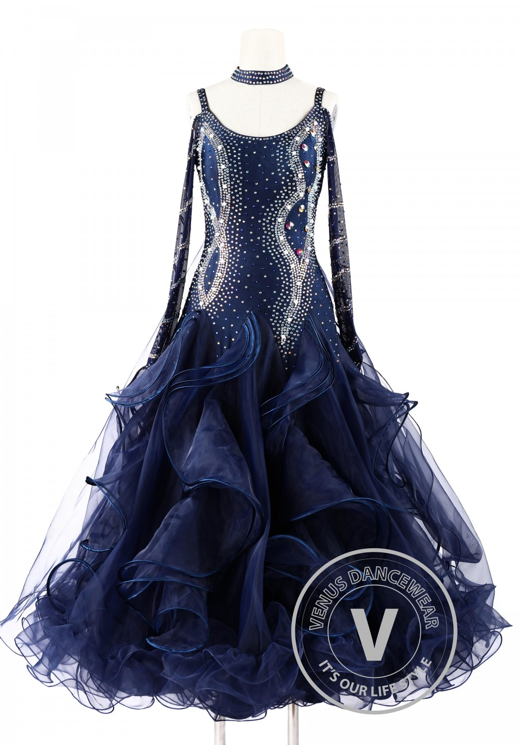 Navy Blue Foxtrot Waltz Standard Competition Dance Dress