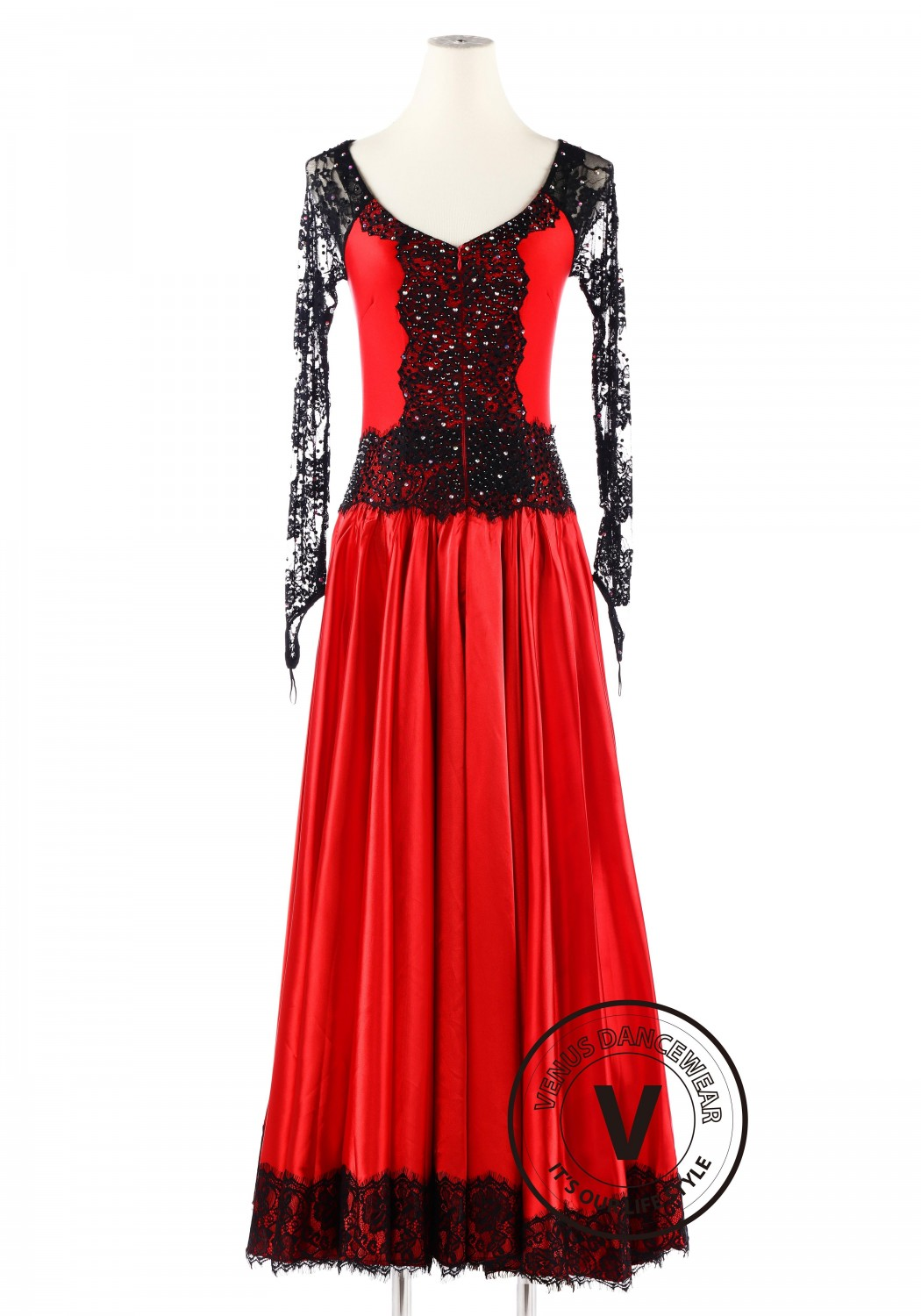 Red Black Lace Competition Smooth Waltz Dance Dress