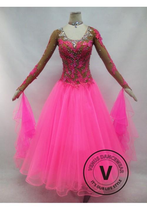 Pink Competition Ballroom Dance Dress