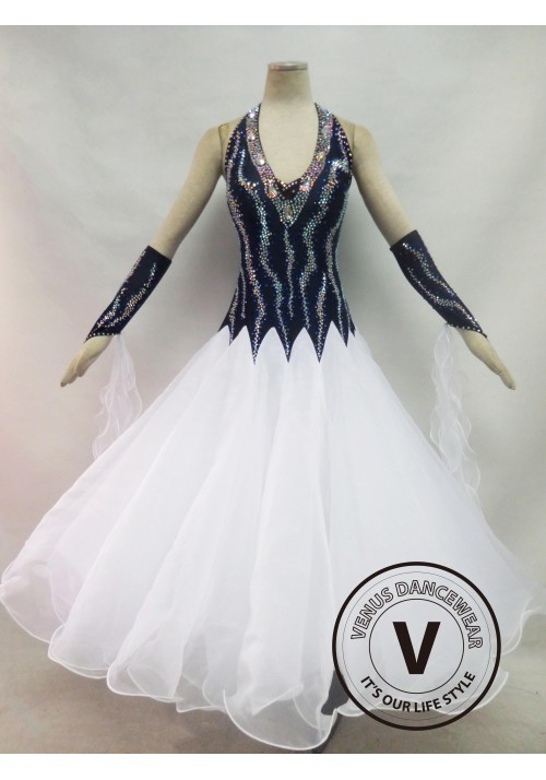White Competition Ballroom Dance Dress