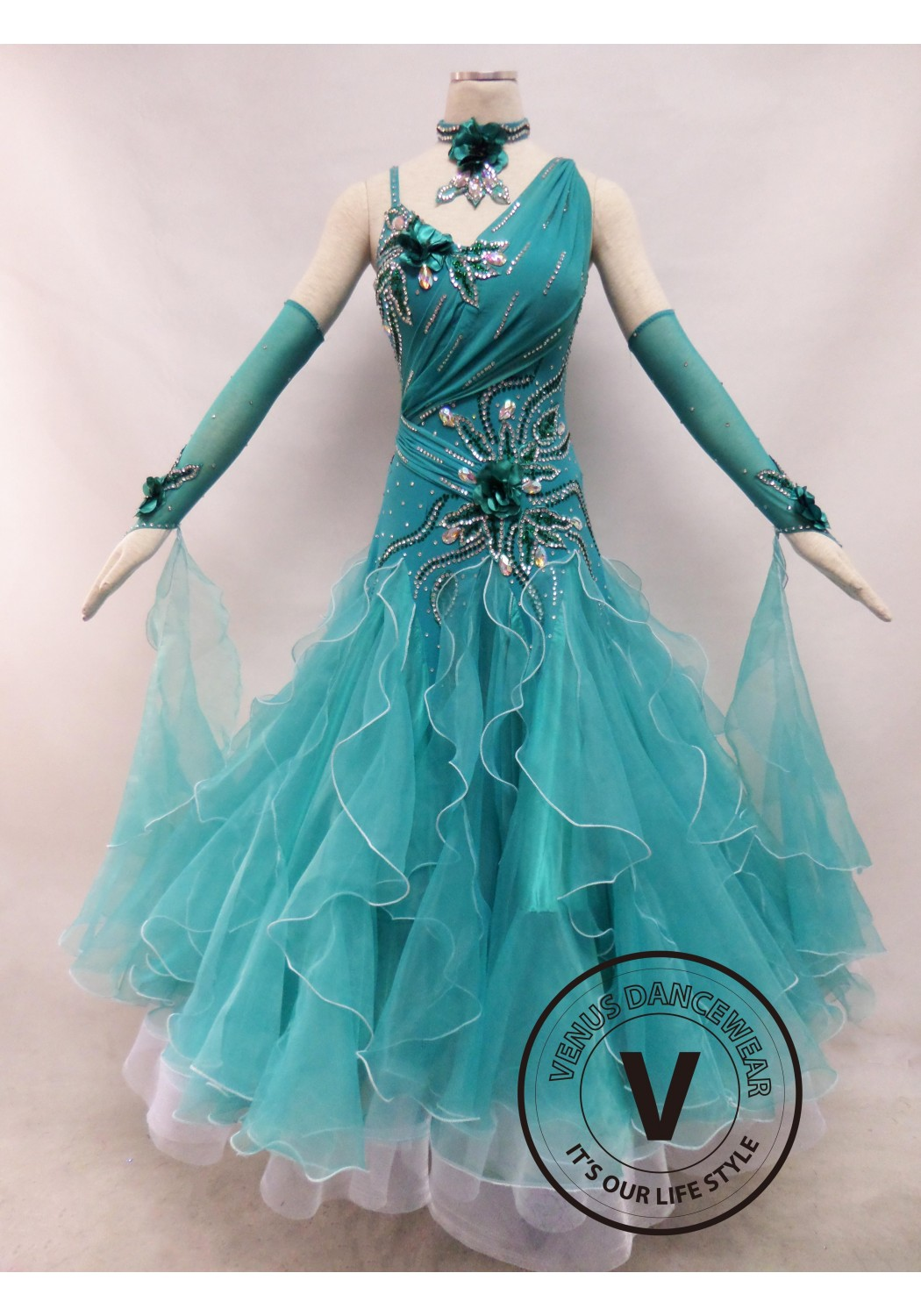 Cyan Competition Ballroom Dance Dress