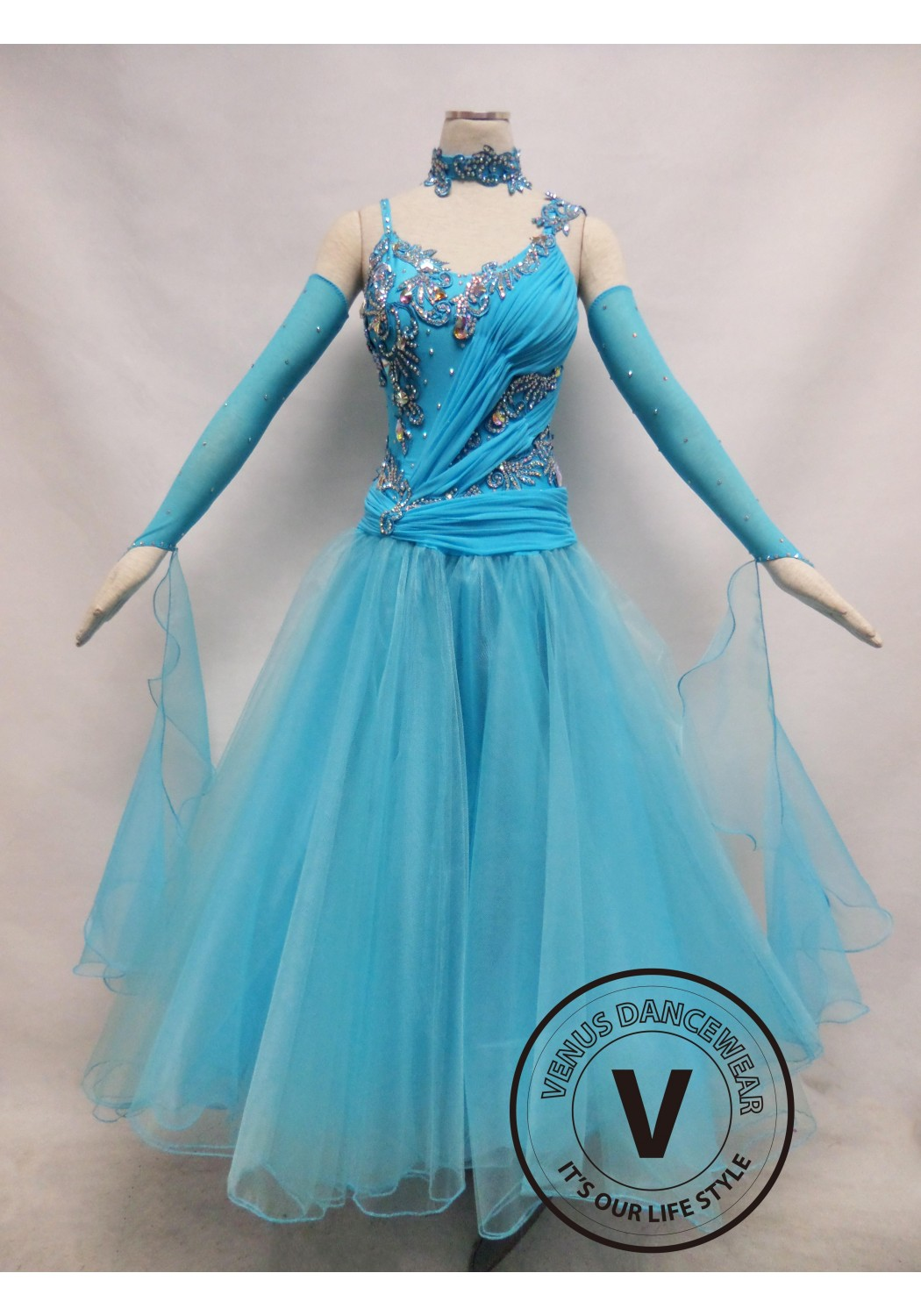 Light Blue Competition Ballroom Dance Dress