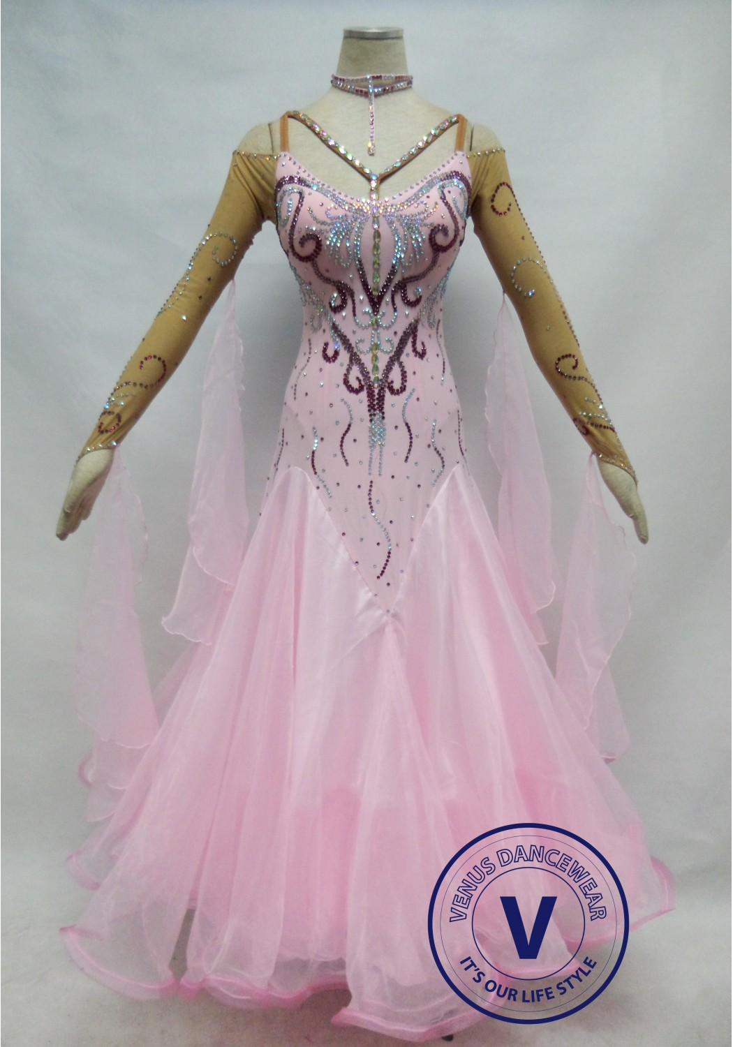 Pink Competition Ballroom Dance Dress