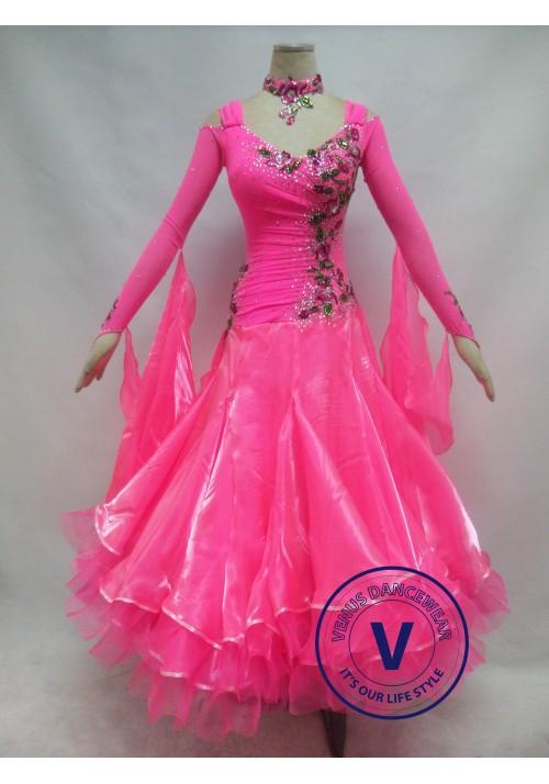 Hot Pink Competition Ballroom Dance Dress