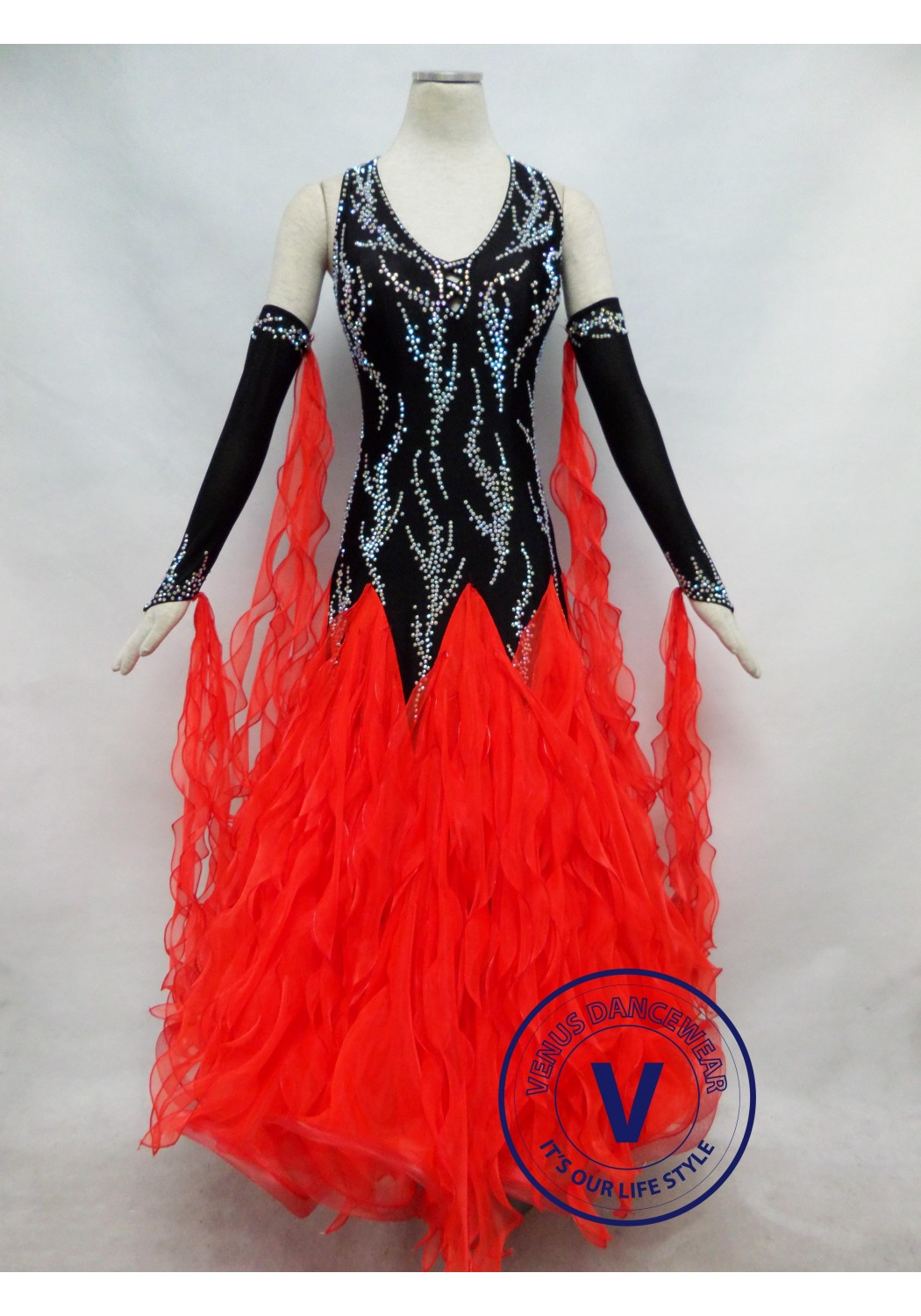 Red Competition Ballroom Dance Dress