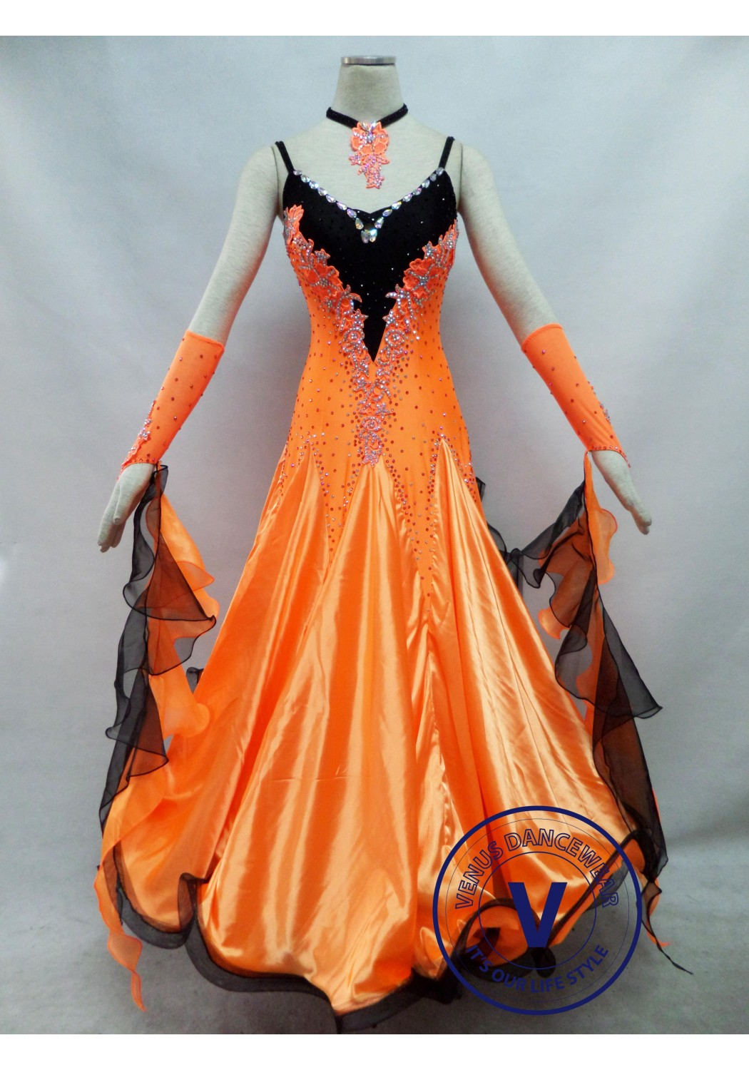 Orange Competition Ballroom Dance Dress