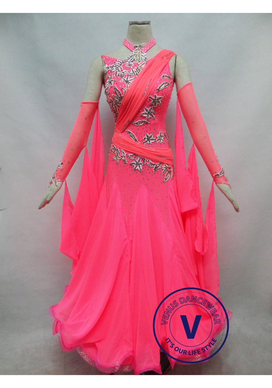 Dark Pink Competition Ballroom Dance Dress