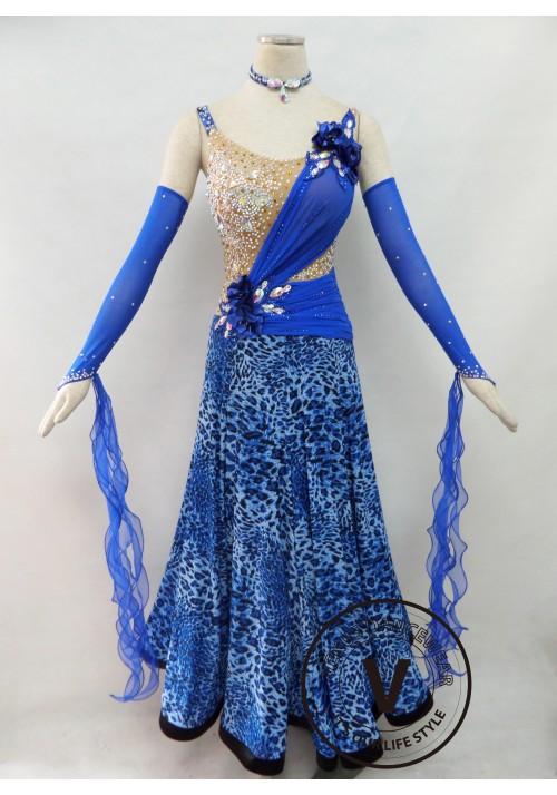 Blue Competition Ballroom Dance Dress