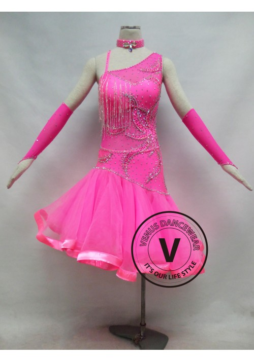 Pink Competition Latin Dancing Dress
