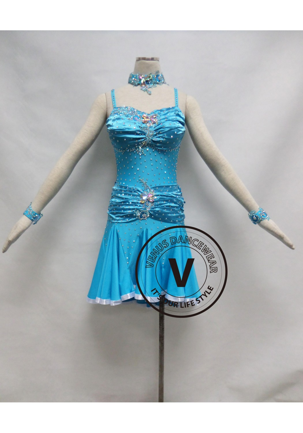 Sky Blue Competition Latin Rhythm Dancing Dress