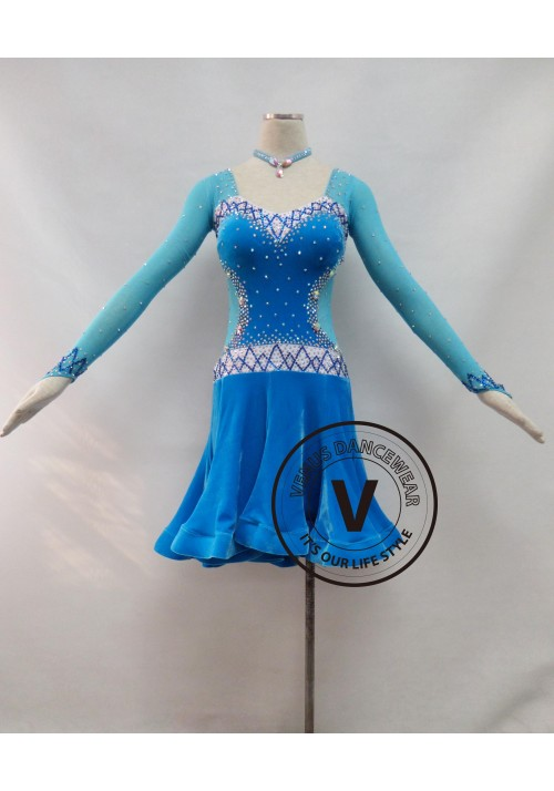 Blue Velvet Competition Latin Rhythm Dancing Dress
