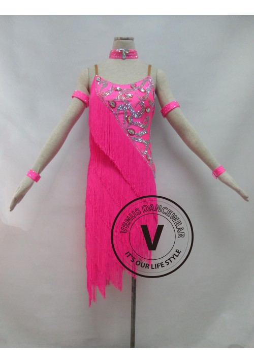 Pink Fringe Competition Rhythm Latin Dancing Dress