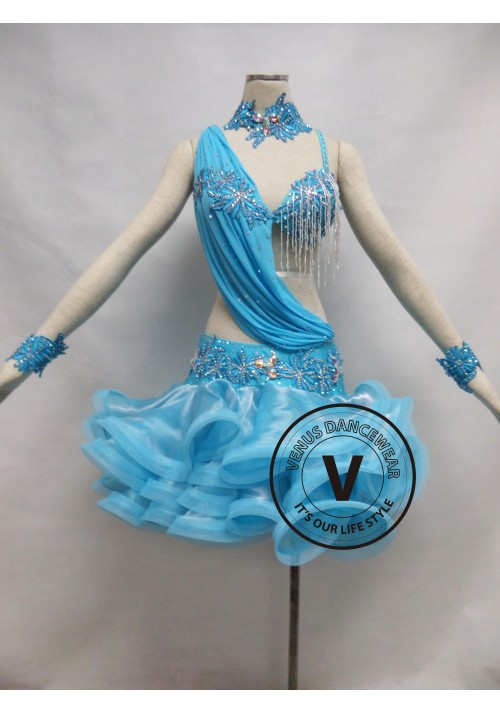 Babyblue Competition Latin Rhythm Dancing Dress