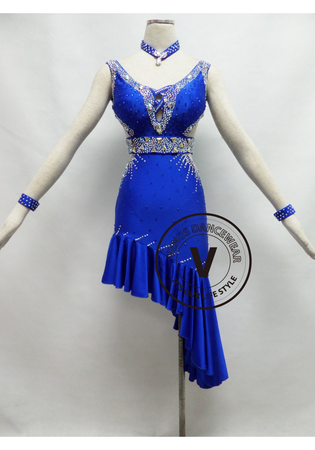 Royal Blue Competition Latin Rhythm Dancing Dress