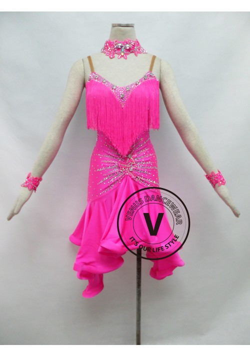 Pink Fringe Competition Latin Rhythm Dancing Dress