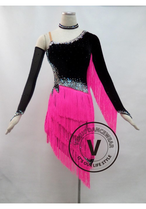 Pink Velvet Fringe Competition Latin Rhythm Dancing Dress