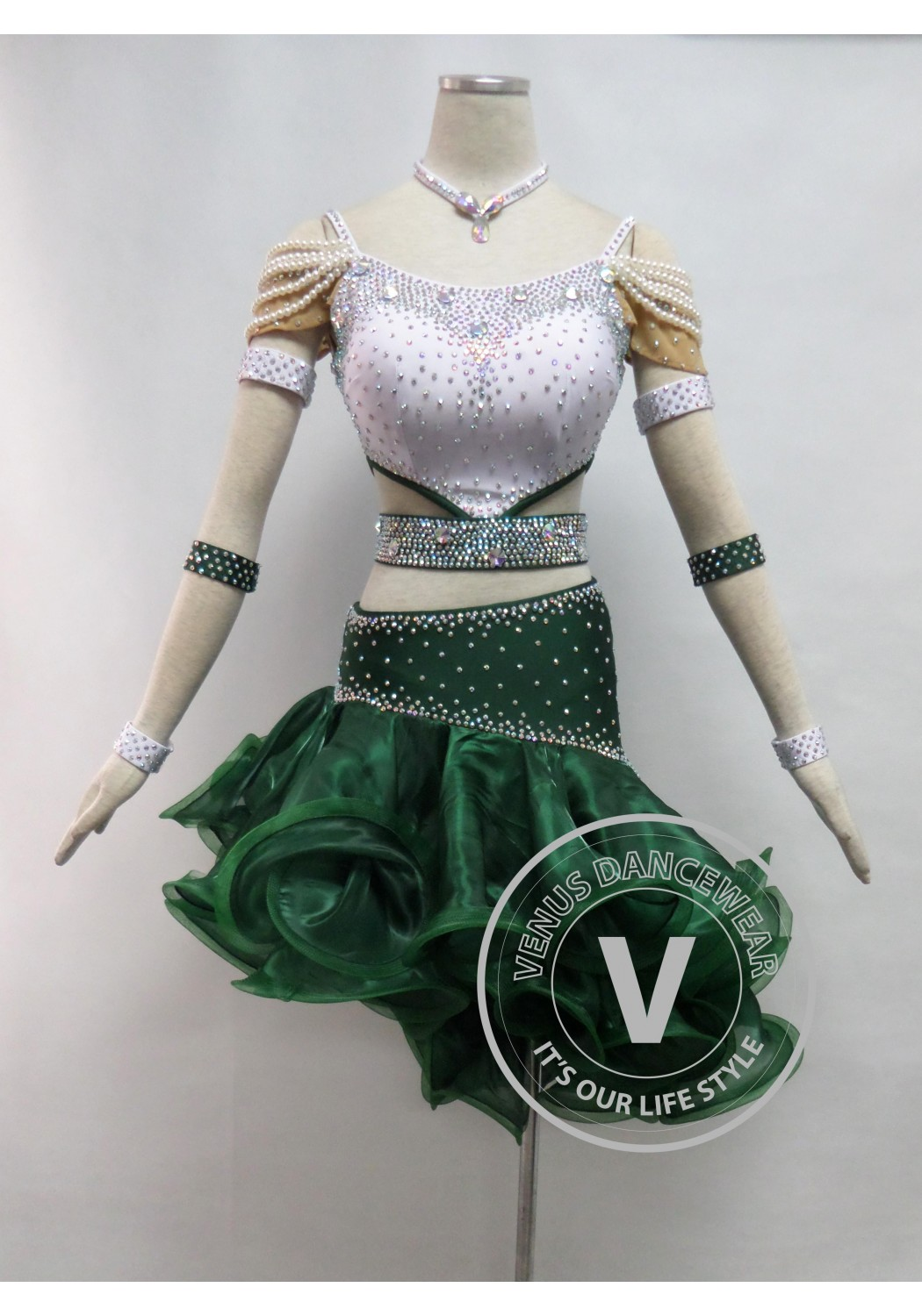 Forest Green Competition Latin Rhythm Dancing Dress
