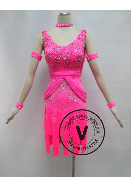 Pink Fringe Latin Rhythm Dancing Competition Dress