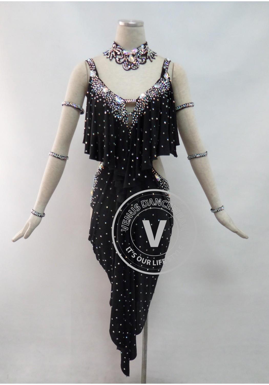 Black Latin Rhythm Competition Dancing Dress