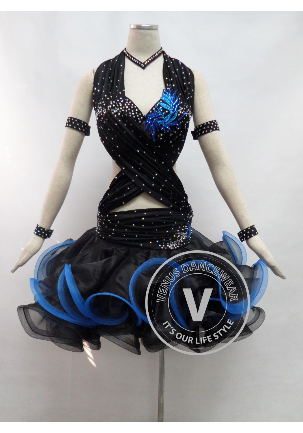 Black Competition Latin Rhythm Dancing Dress