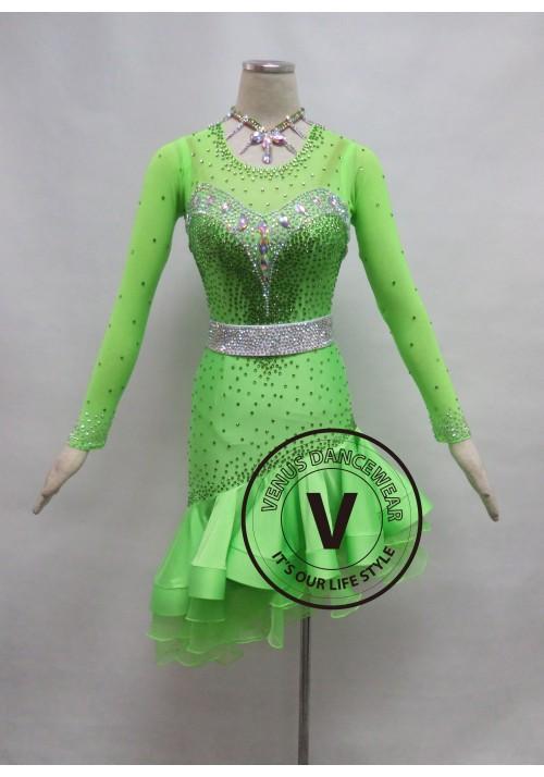 Fluorescent Green Competition Latin Rhythm Dancing Dress