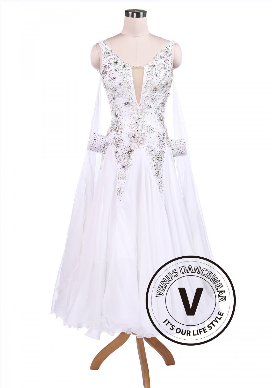 Pure White Sexy Ballroom Tango Waltz Competition Dress on Foxtrot Dancers