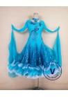 Blue Smooth Salsa Tango Ballroom Standard Competition Ballroom Dress