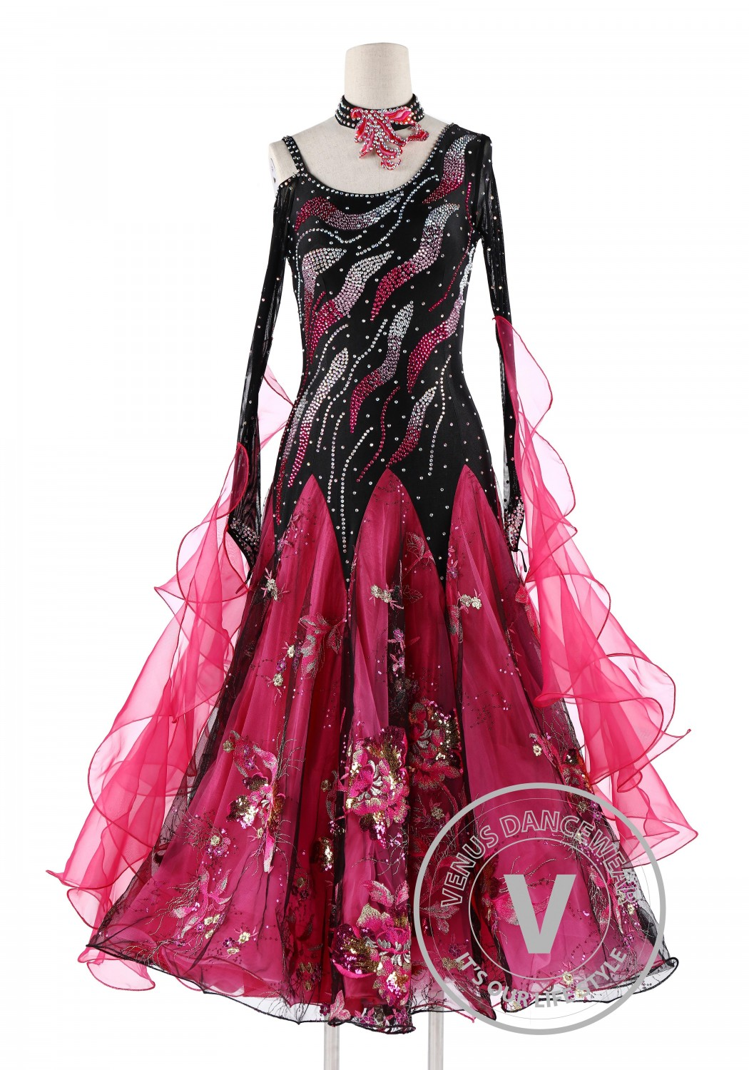 Black and Rose Standard Competition Ballroom Dance Dress
