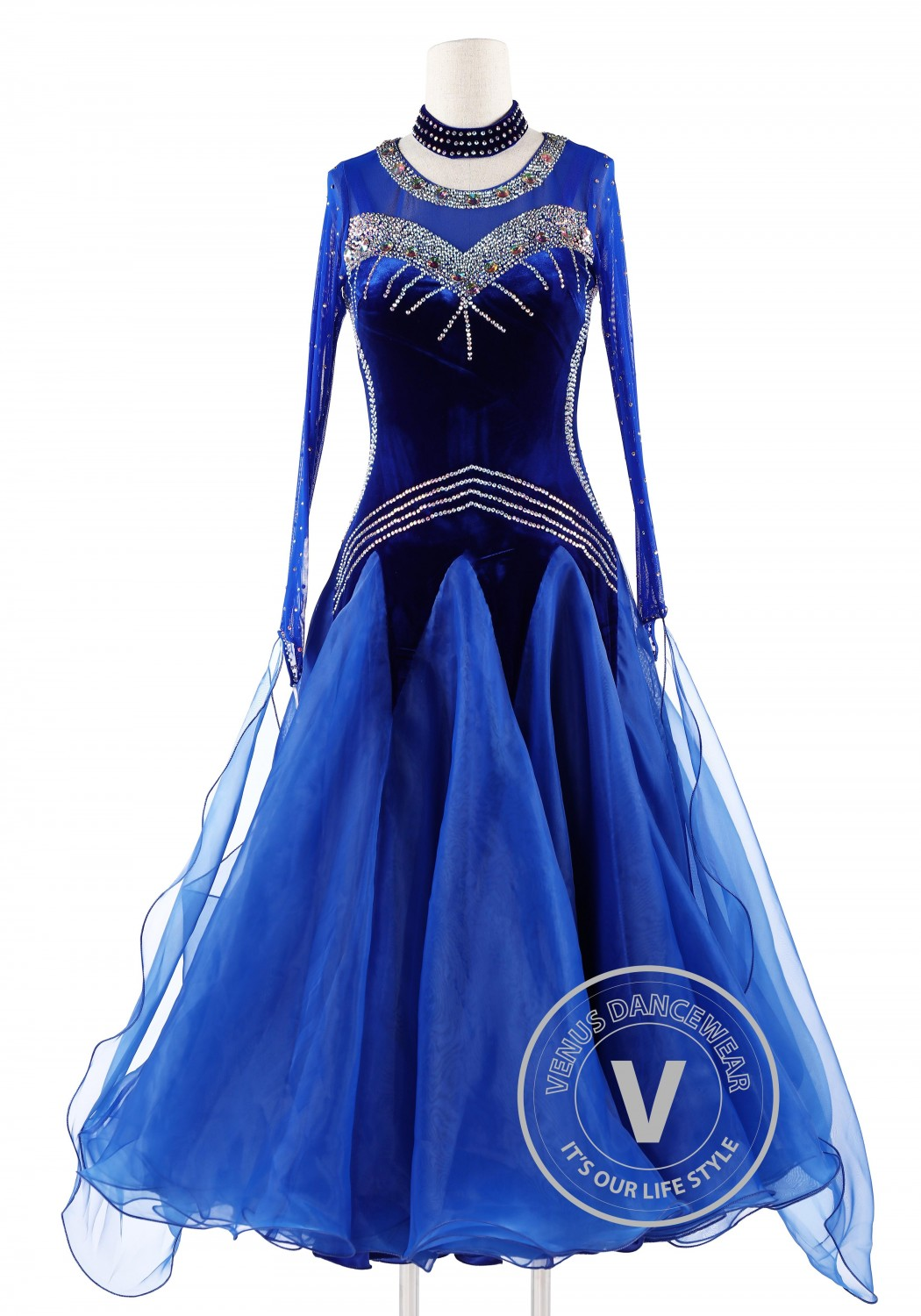 Elegant Dark Blue Velvet Ballroom Competition Dance Dress