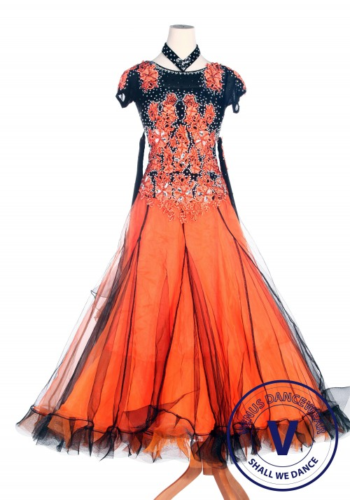 Orange Smooth Standard Tango Waltz Dancewear Ballroom Competition Dress