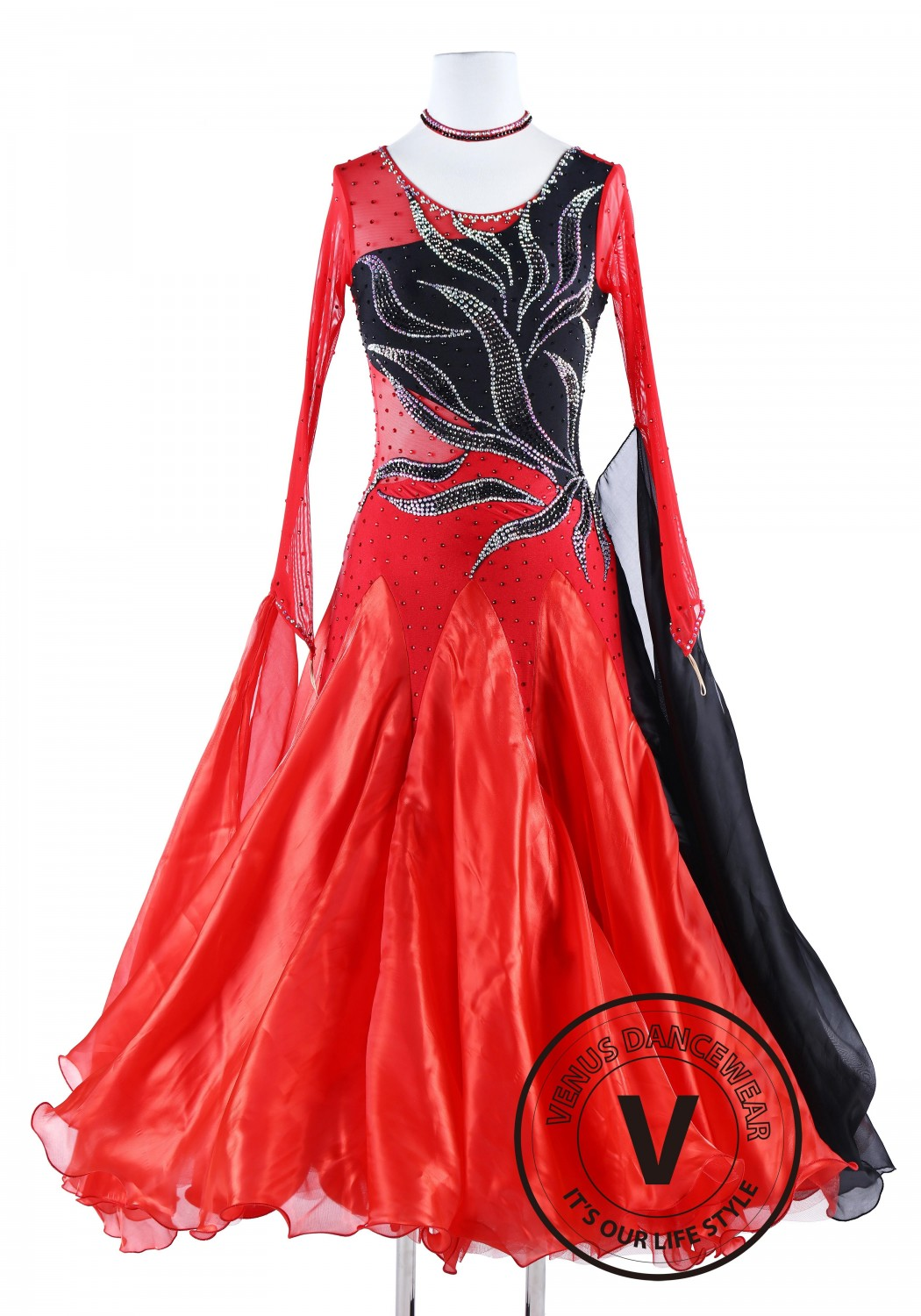 Black Fire International Standard Waltz Tango Dance Dress