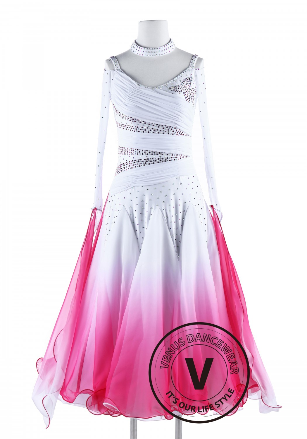 Rose Gradation Color Standard Waltz Smooth Dance Dress